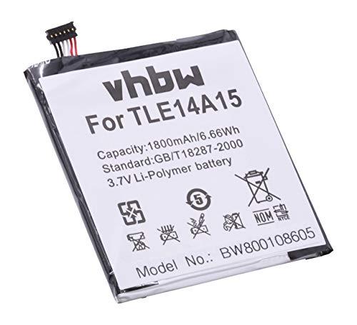 Preisvergleich Produktbild vhbw Li-Polymer Akku 1800mAh (3.7V) für Handy Smartphone Telefon Wiko Darkmoon wie TLE14A15.