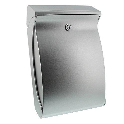 Burg-Wächter Kompakter Briefkasten mit Öffnungsstopp, A4 Einwurf-Format, Vollkunststoff, Swing 4906 Si, Silber