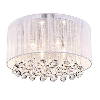 Edvivi Belle 4-Light Chrome Finish with White Thread Wrapped Drum Shade Flush Mount Chandelier Ceiling Fixture with Hanging Crystals | Glam Lighting - Flushmount Fixture Dimensions: 15.7 in. Dia x 9 in. H, Shade Dimensions: 15.7 in. Dia x 7 in. H Takes four (4) max 40-watt candelabra (E12) bulbs (not included), Dimmable with a dimmer switch and the right type of bulbs Exceptional Quality, Some Assembly Required, Includes all assembly and hardware parts for ease of installation, Needs Hard Wiring, Professional installation is recommended - kitchen-dining-room-decor, kitchen-dining-room, chandeliers-lighting - 41XGmGWNoxL. SS400  -