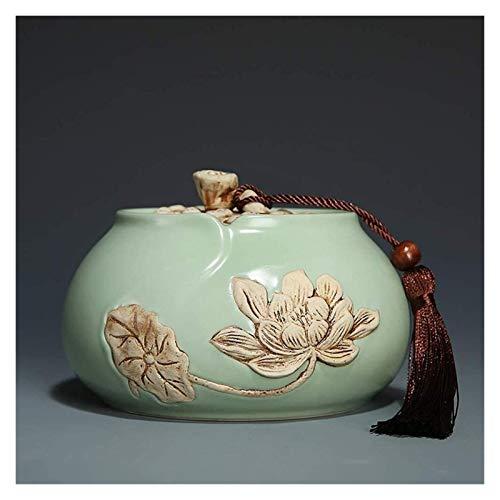 YYCHJU Contenedor de Almacenamiento de Té Frascos para Tanque de Almacenamiento de cerámica de cerámica de cerámica de cerámica de ruilla de cerámica roja (Color : Green)