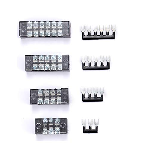 8 Pack (4 Sets) 15A, 3 4 5 6 Positions Dual Row 600V 15A Screw Terminal Strip Blocks with Cover + 400V 15A 3 4 5 6 Positions Pre-Insulated Terminals Barrier Strips