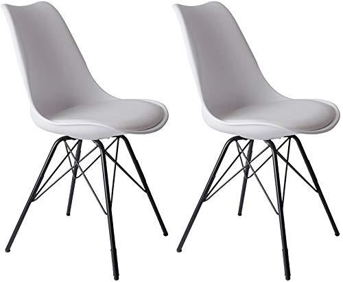 SAM 2er Set Schalenstuhl Lerche, Kunststoffschale in Weiß, integriertes Kunstleder-Sitzkissen, Schwarze Metallfüße, Esszimmerstuhl im skandinavischen Stil