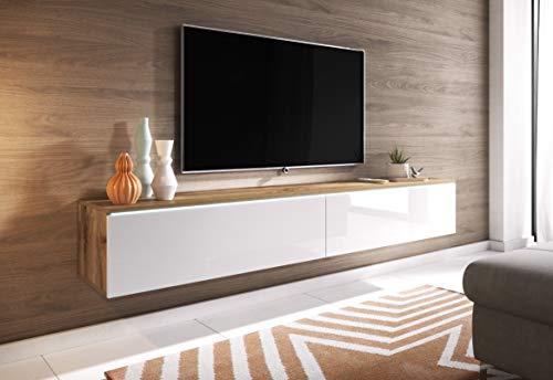 Furnix - Meuble TV/Banc TV/Meuble TV Suspendu – Blank - 180 cm – 2 Compartiments spacieux – Style Contemporain – Chêne wotan/Blanc Brillant – sans LED