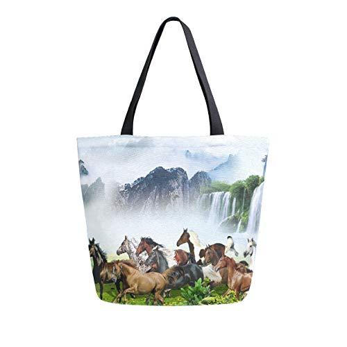 Ahomy Bolsas reutilizables de lona para comestibles, 3D abstractas de caballos, montañas, cascadas, mujeres, bolso de compras, trabajo, escuela