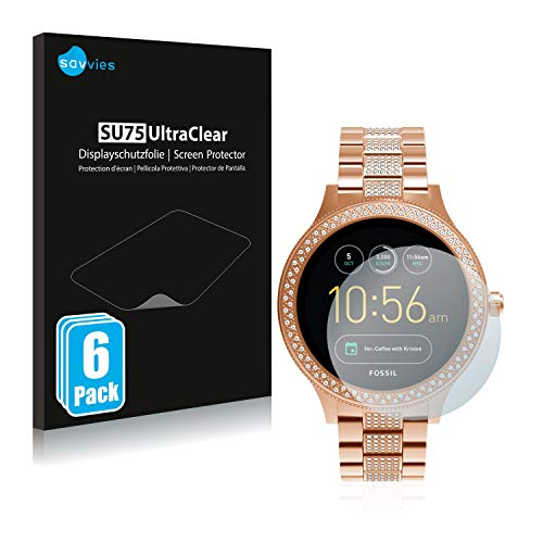Savvies 6X Schutzfolie kompatibel mit Fossil Q Venture/Q Venture (3.Gen) Bildschirmschutz-Folie Ultra-transparent