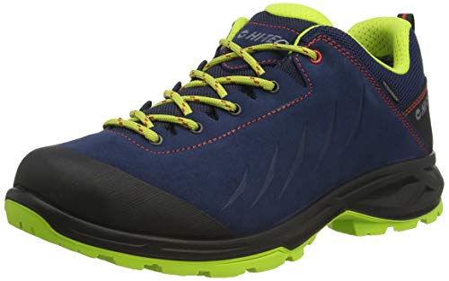 Hi-Tec Palermo Lite WP, Zapatillas para Caminar Hombre, Azul Lima Rojo, 40 EU