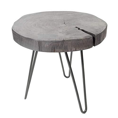 Invicta Interior Industrial Hocker GOA 35cm grau Akazienholz Beistelltisch mit Hairpin Legs Holzhocker Nachttisch Tisch