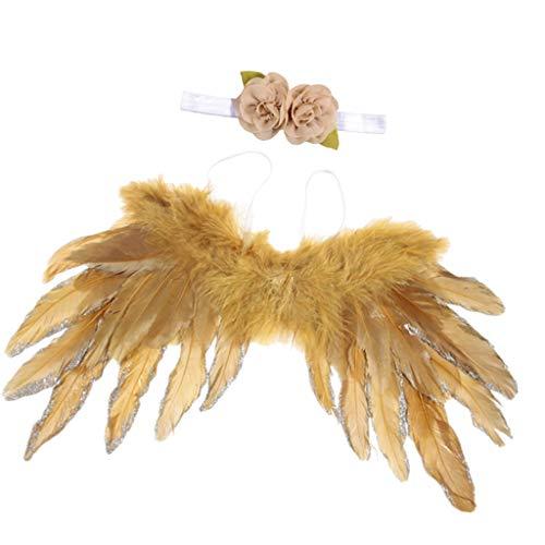 Federflügel + Blumen Haarband Set, Baby Cospaly für Engel - Gold