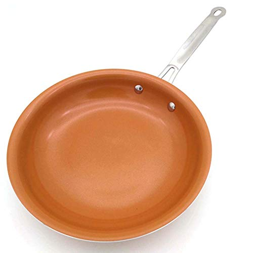 FULANTE Non-stick koperen koekenpan, keramische coating en inductie koken, aluminium platte koekenpan 10 inch