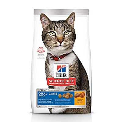 Hill's Science Diet Dry Cat Food, Adult, Oral Care, Chicken Recipe, 3.5 lb Bag