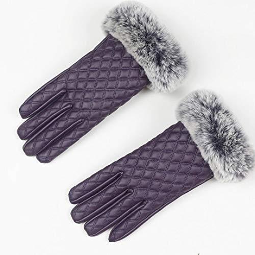 SUNHAO Dameshandschoenen, touchscreen, leren handschoenen, ruit ontwerp, herfst en winter, reparerende handen en fluweel om warm te houden B