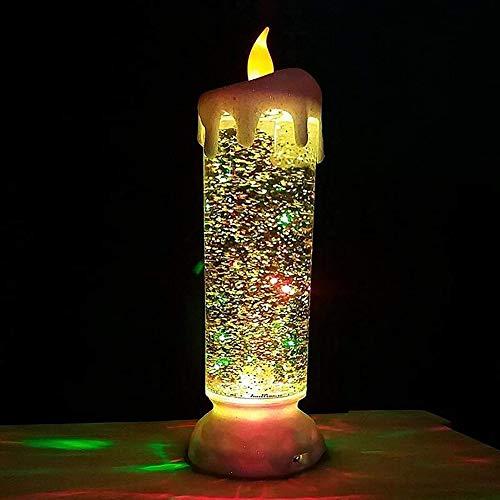 NSSTAR Rotierende Farbwechsel LED Wasserkerze, Wiederaufladbare LED Glitzerkerze, LED Romantische Kristallkerze Licht Flammenloses Schneelicht für Weihnachten nach Hause Hochzeitsfeier Dekor