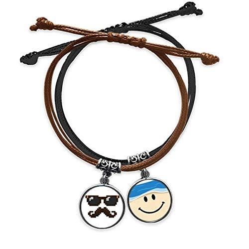 Bestchong Armband mit Sonnenbrille, Bart und Mann, Pixel, Handkette, Leder, lächelndes Gesicht