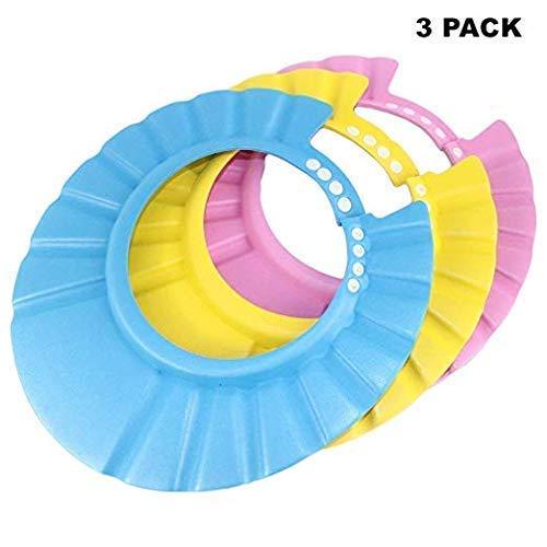 3er-Pack Baby-Dusch-/Bade-Shampoo Badeschutz Weiche Kappe Weiche anpassbare Schirmmütze für Säuglinge, Babys, Kleinkinder, Kinder