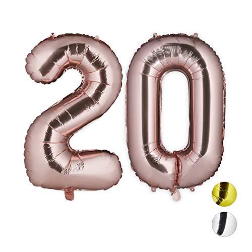 Relaxdays Palloncini Giganti in Foil con Numero 20 per Compleanni Anniversari, XXL, Pellicola, Oro Rosa, H x B x T: ca. 85 x 50 x 17 cm