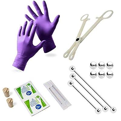 BodyJewelryOnline 17-Piece Industrial Piercing Kit - 3 Barbells, Corks, Needles, Gloves, Forceps, Replacement Balls + Wipes