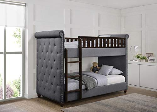 Ava Children's Linen Fabric Chesterfield Fabric Wooden Bunk Bed with Mattresses Included for Children, Girls, Kids (D Grey)
