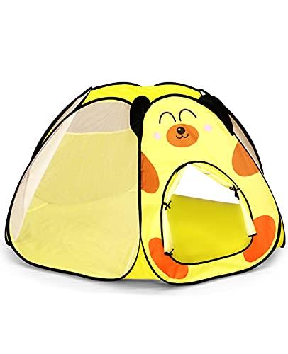 Tienda Campaña Infantil Tiendas Carpas de Jardin Casita Infantil Castillo Princesas Pop Up Carpa Plegable para Interior y Exterior Pascua Regalo para Niños, Amarillo