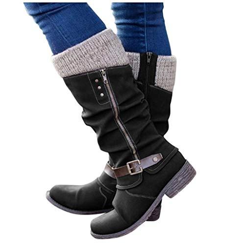 ZBYY Women's Knee High Boots Extra Wide Calf Flat Heel Zipper Buckle Riding Boots Warm Winter Leather Knee Boots Black