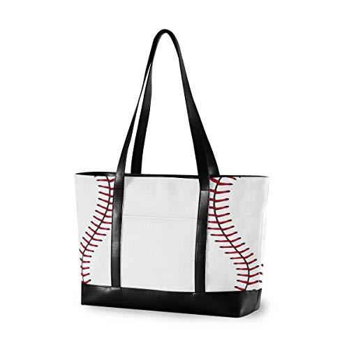 Hunihuni Laptop-Tasche Baseball-Laptop, große Kapazität, Canvas, Schulter-Handtasche für 15,6 Zoll (39,6 cm), für Reisen, Schule, täglichen Gebrauch