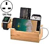 Nuova base di gestione del supporto caricabatterie for stazione di ricarica in bambù multifunzione con 3 porte USB, for Apple Watch, AirPods, iPhone, spina UK Tactfulw