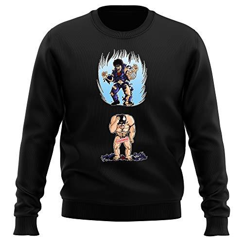 Okiwoki Pull Noir Parodie Ken Le Survivant - Kenshiro - Traduction Anglais (Sweatshirt de qualité Premium de Taille XXL - imprimé en France)