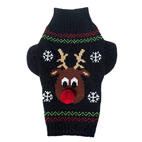 JEELINBORE Hundepullover Atmungsaktiv Gestrickte Pullover Haustier Hund Weihnachten Strickpullover Warme Pet Kleidung Xmas Kostüm (#3 Schwarz Rentier, S)