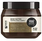 Hello Nature Crema Hidratante Corporal de Aceite de Coco, Coconut Oil Body Butter - 250 ml