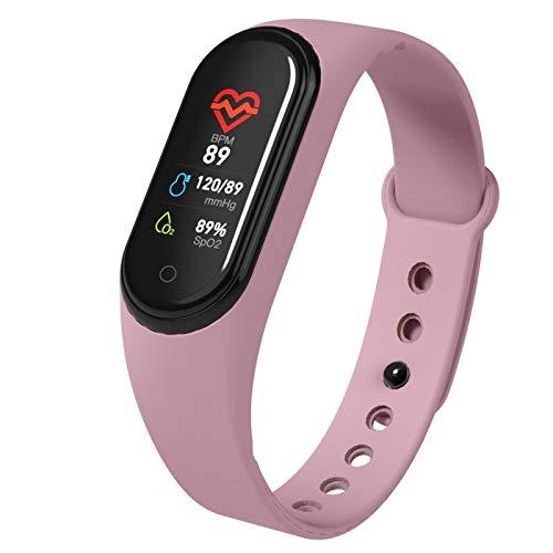 YJXD Inteligente Banda Presión Arterial de medición podómetro rastreador de Ejercicios Reloj Inteligente Mujer Pulsera de Hombre Impermeable for Android iOS (Color : M4C Pink)