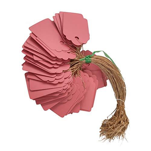 IsMoon 100stk. Anhänger Etiketten Kunststoff, Hängeetiketten, Anhängeetiketten, Etiketten 3.6 x 2.5cm mit Schnur 13cm für Garten Basteln (Rosa)