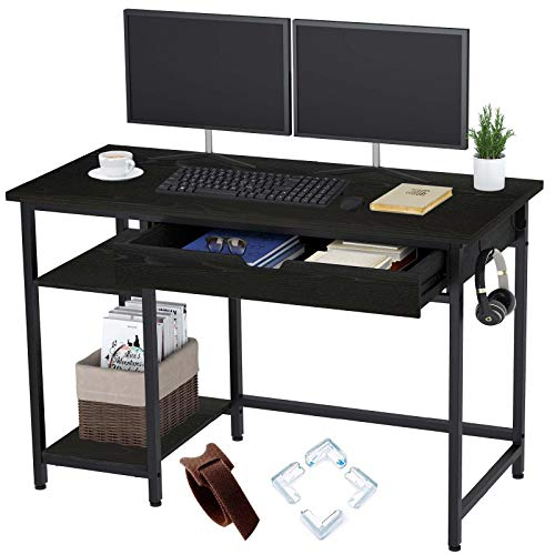 Rolanstar Computer Desk with Shelves and Drawer, 47' Home Office Writing Desk, Laptop Study Table Workstation, MDF Wood with Metal Frame, Business Style,Black