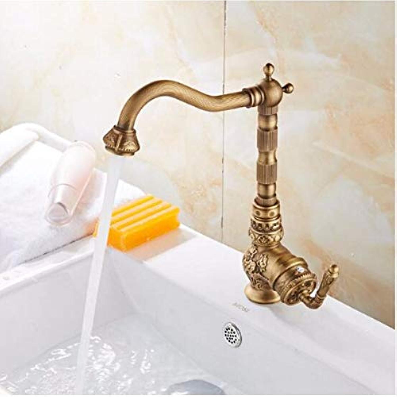 Mode Hot & Cold Basin Wasserhahn Europa Stil insgesamt Messing Bronze fertig Geschnitzte Küchenarmatur Schwenk Küchenmischbatterie, Spüle Wasserhahn