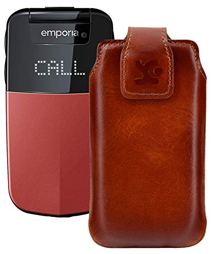Suncase Original Tasche für Emporia Glam V34 Hülle Leder Etui Handytasche Ledertasche Schutzhülle Hülle in Burned Cognac