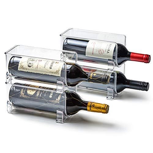 EZOWare Botellero Apilable, Estante para Vino/Organizador Botellas Agua en Plástico Transparente para Refrigerador, Armario de Cocina - Juego de 4, Cada uno Puede Contener 1 Botella