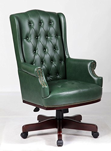 Angelis Bonded Leather Captains Chesterfield Style Managers Desk Chair Office furniture High Back Executive (Green)