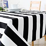 CFWL Mantel a rayas blancas y negras, mantel rectangular acolchado de tela a rayas blancas y negras, 140 x 220 cm, mantel plastificado blanco por metro
