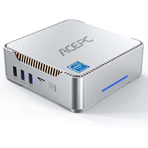 Mini PC, AK3 Intel Celeron J4125 Windows 10 Pro Mini Computer Desktop,8GB RAM + 120GB ROM, Supporto 2TB SSD/HDD SATA da 2,5 pollici, Dual WiFi 2.4 / 5G, BT4.2, 4K HD, 2 HDMI+1 VGA+USB 3.0