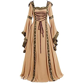 Clearance Renaissance Dress,Forthery Womens Medieval Costume Dress Lace up Irish Over Long Dresses Cosplay Retro Gown Khaki,XL