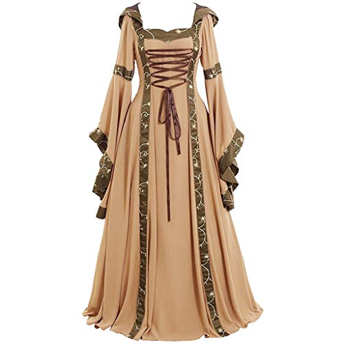 Clearance Renaissance Dress,Forthery Womens Medieval Costume Dress Lace up Irish Over Long Dresses Cosplay Retro Gown(Khaki,XL)
