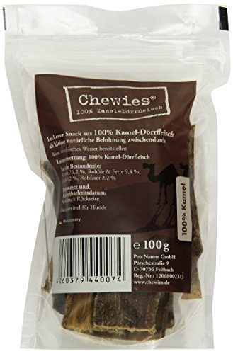 Chewies, snack per cani con carne di cammello, 100 g, naturale da masticare per cani, ipoallergenico e senza additivi