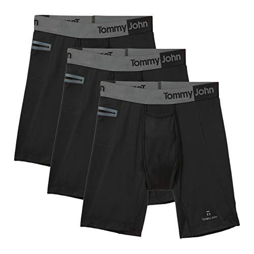 Tommy John Men's 360 Sport 2.0 Boxer Briefs - 3 Pack - No Ride-Up Comfortable Underwear for Men (Black, Large)