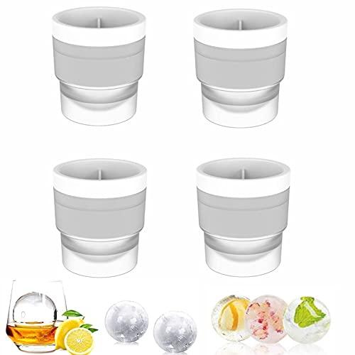 【4 Stück】Eiswürfelform, Runde Eiskugeln, Ice Cube Ball Mold, Whisky-Runde Eishockeyform, BPA Frei, Ice Ball Mold, für Bier Cocktails Whisky Party und Bars Leicht Entformbare…