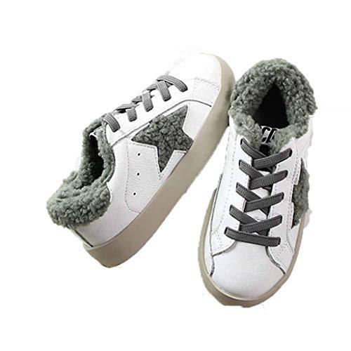 Feidaeu Kinder Sportschuhe Herbst und Winter Komfort Plus samt lamm Stern Schuhe Leder schmutzig schmutzige Schuhe warme lässige weiße Schuhe Baby