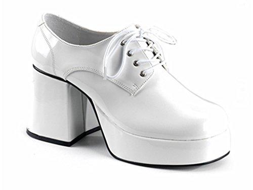 HERREN PLATEAU 60er jahre 70er jahre DISCO ROCKSTAR Weiß Schuhe Kostüm (UK 11 - EU 45)