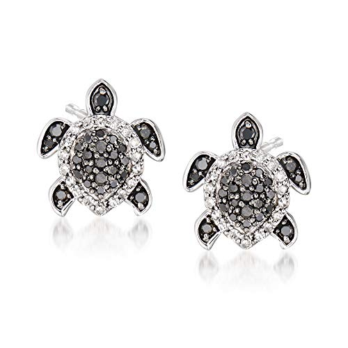 Ross-Simons 0.33 ct. t.w. Black and White Diamond Turtle Earrings in Sterling Silver
