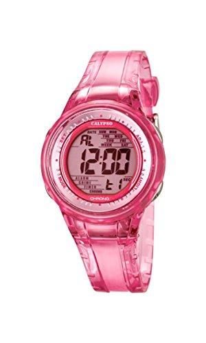 Calypso–Reloj Digital de Mujer con Esfera Rosa Pantalla Digital y Rosa Correa de plástico K5688/2