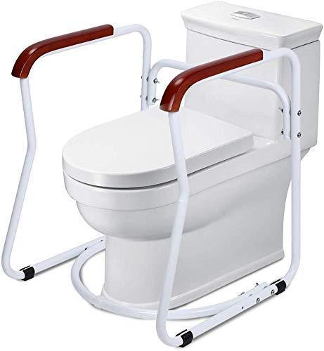 Greensen Toilettengestell Toiletten Aufstehhilfe Sichere WC Stützhilfe Rutschfest Sicherheitsgestelle Badezimmer WC Aufstehhilfe mit Holz Haltegriff Toilettenstützstange für Senioren und Deaktiviert