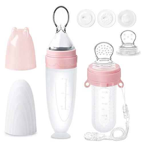 Fruchtsauger für Baby, 2er-Pack Termichy 30 ml Obstsauger Baby 90 ml Baby Getreide Fütterungs Flasche für Kleinkinder mit Staubschutzkappe (Pink&Pink)