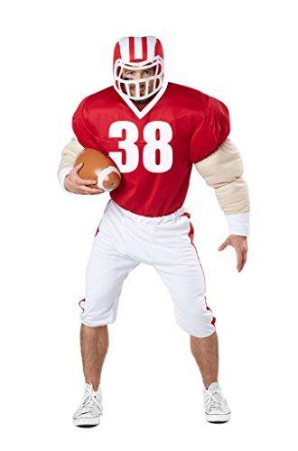 American Football Spieler Kostüm (mit Helm und Ball) Karneval Verkleidung Herren Größe L/XL