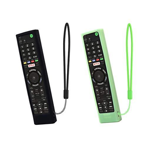 SIKAI 2-Pack Funda de Silicona para Mando a Distancia Compatible con Sony RMT-TX102D / RMT-TX100D / RMT-TX300E / RMT-TX200 / RMF-TX200C Antichoque Resistente a Golpes Cover (Negro-Luminoso Verde)